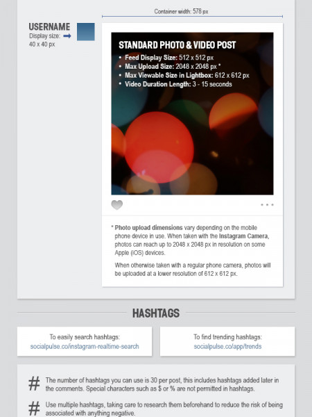 Instagram Sizes and Dimensions Cheat Sheet 2013 - Online Circle Digital Infographic