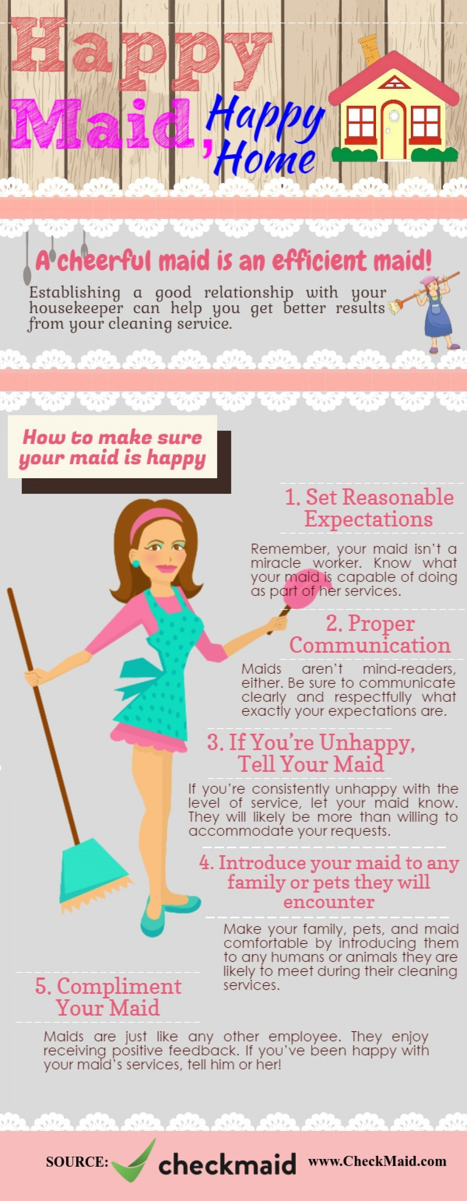 A cheerful maid is an effective maid Infographic