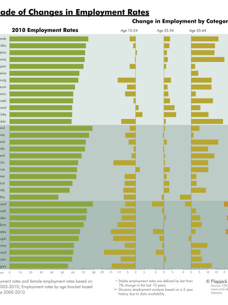 A Decade of Changes in Employment Rates Infographic