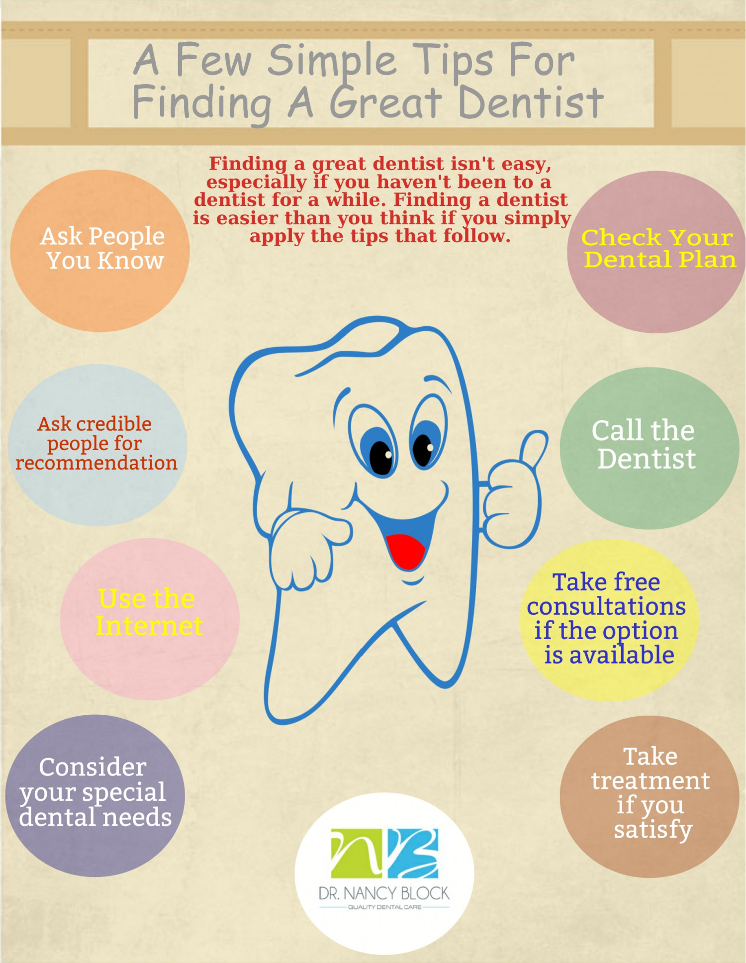 A Few Simple Tips For Finding a Great Dentist Infographic