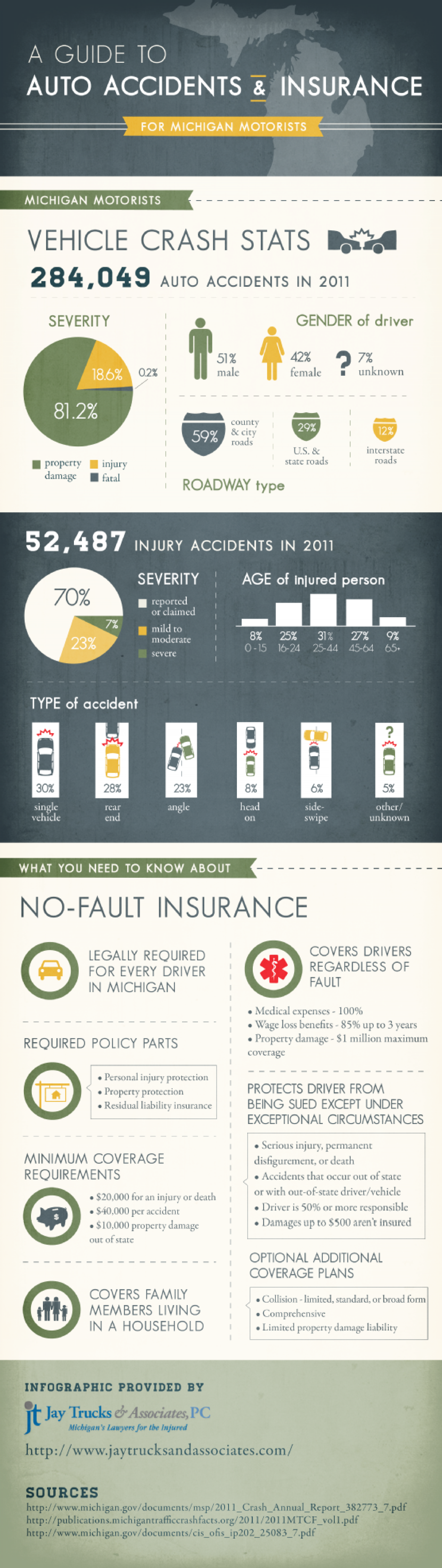 A Guide to Auto Accidents and Insurance for Michigan Motorists Infographic