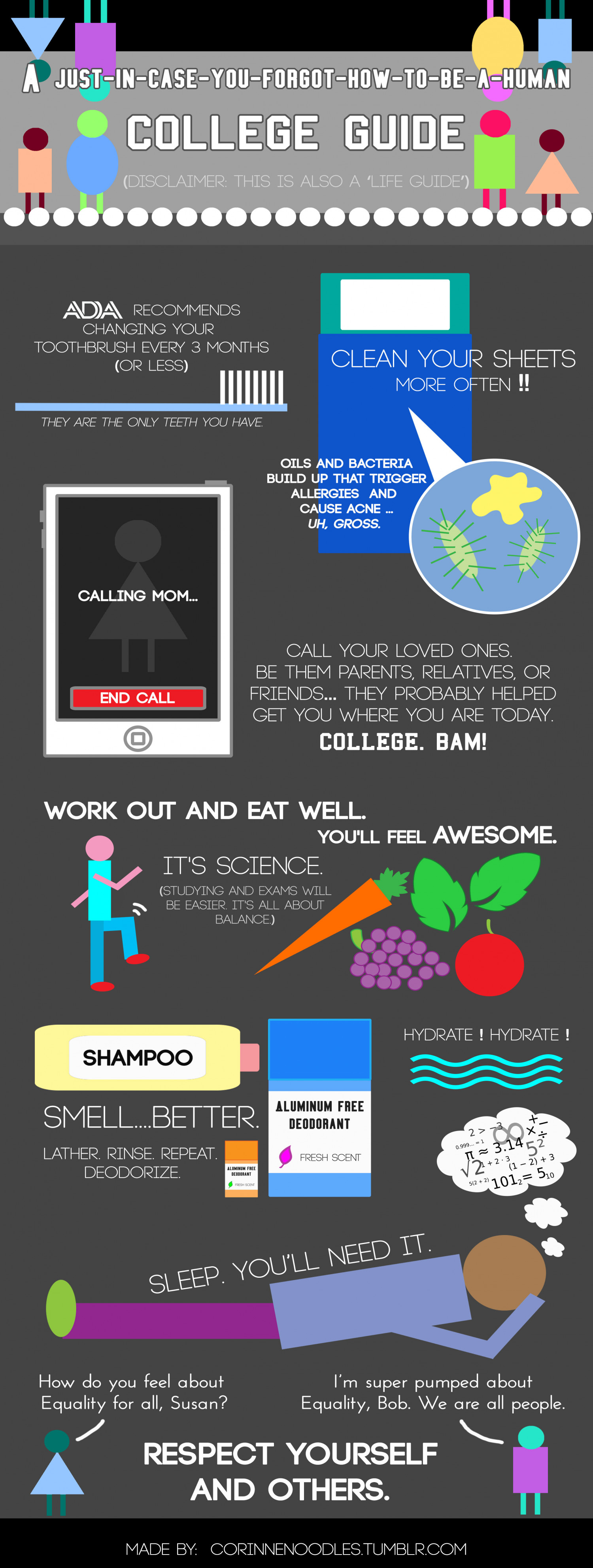 A Just-In-Case-You-Forgot-How-To-Be-A-Human College Guide Infographic