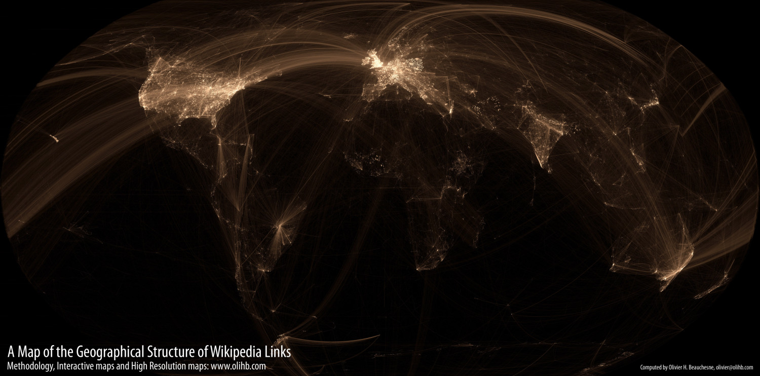 A Map of the Geographical Structure of Wikipedia Links  Infographic