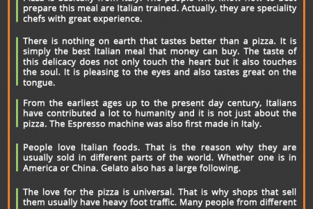 A Pizza Shop Sells The Finest Italian Food Infographic
