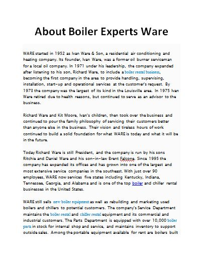 About Boiler Experts Ware | Visual.ly