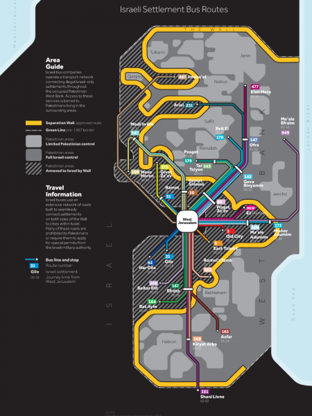 Across the Wall: Israeli Settlement Bus Routes Infographic