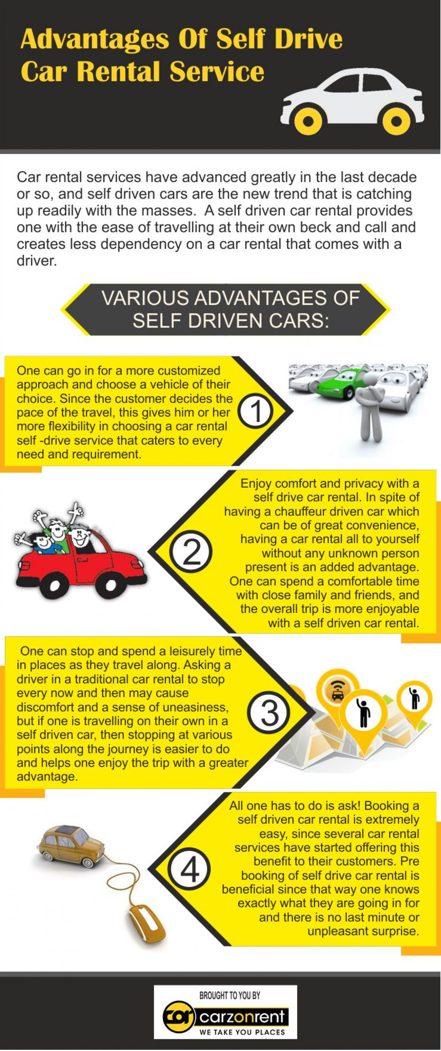Advantages Of Self Drive Car Rental Service Infographic