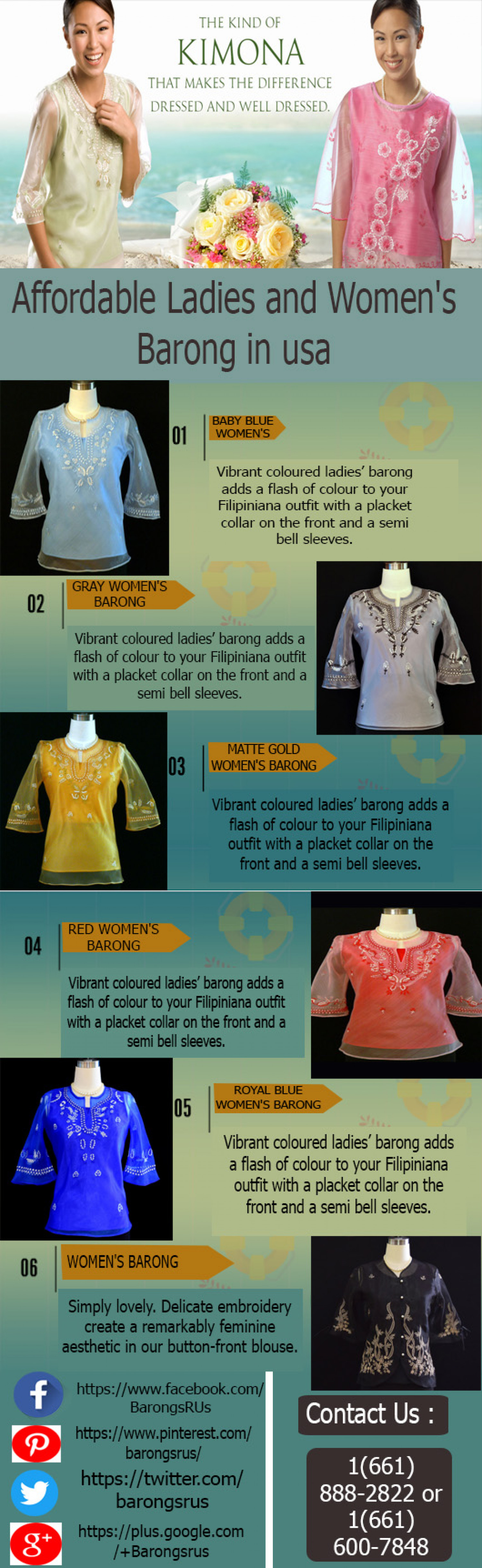 Affordable Ladies and Women's Barong in USA Infographic