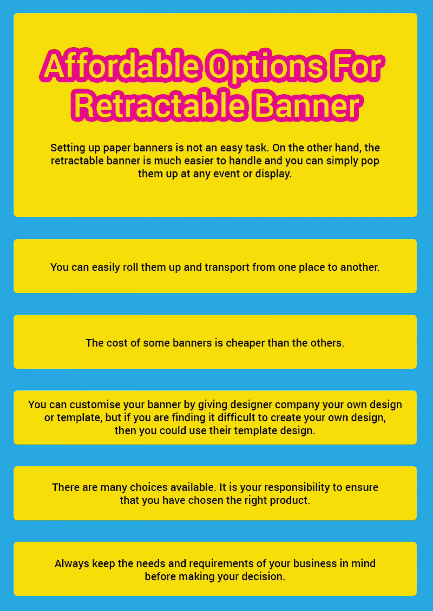 Affordable options for Retractable Banner Infographic