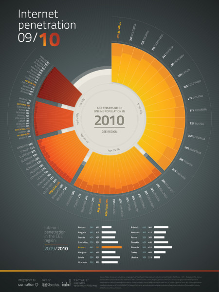 Age Structure of Online Population in 2010 - CEE Region Infographic