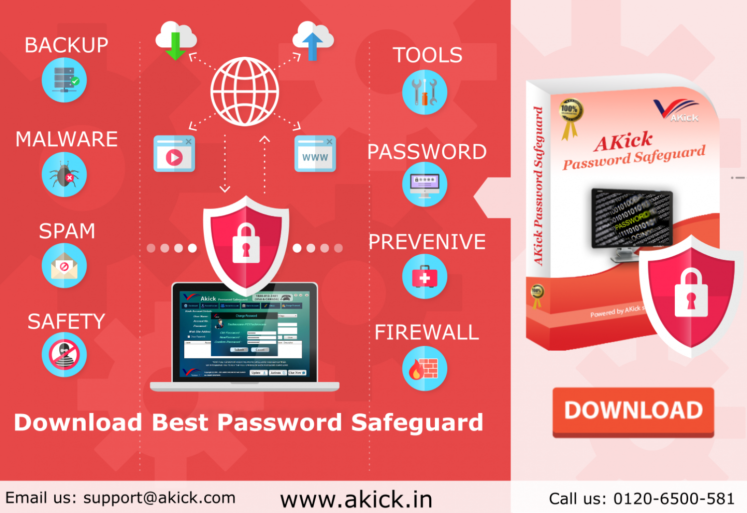 AKick - Free Email Password Recovery Software Infographic