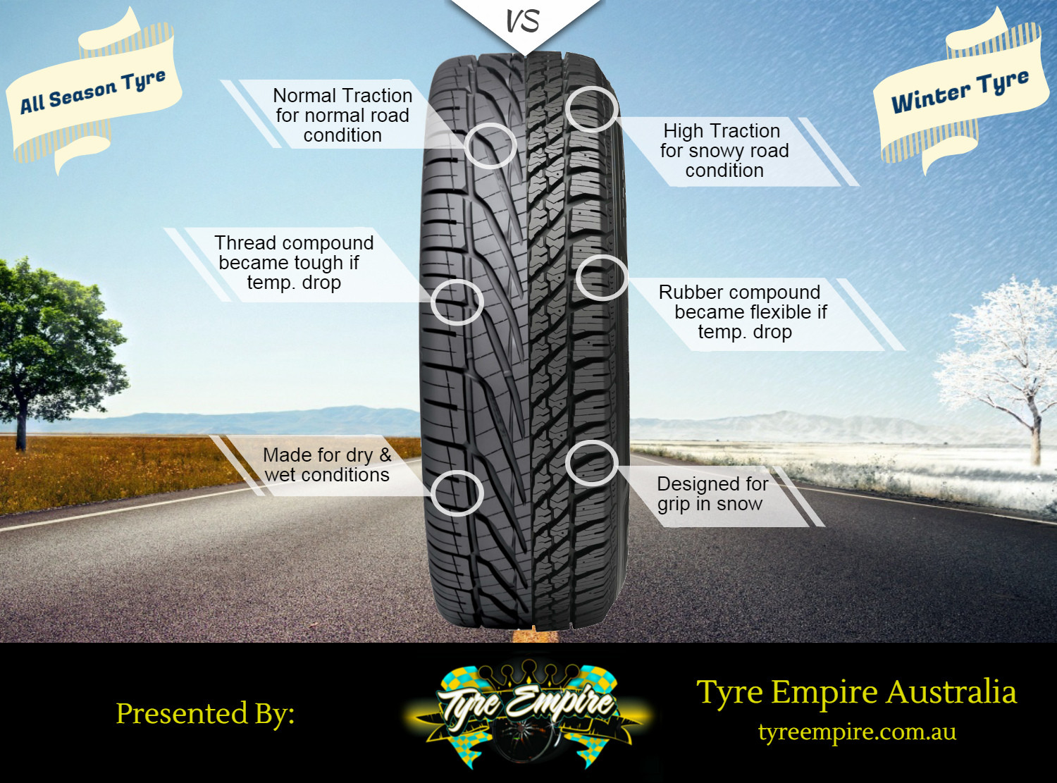 All-Season Tyres vs Winter Tyres Infographic