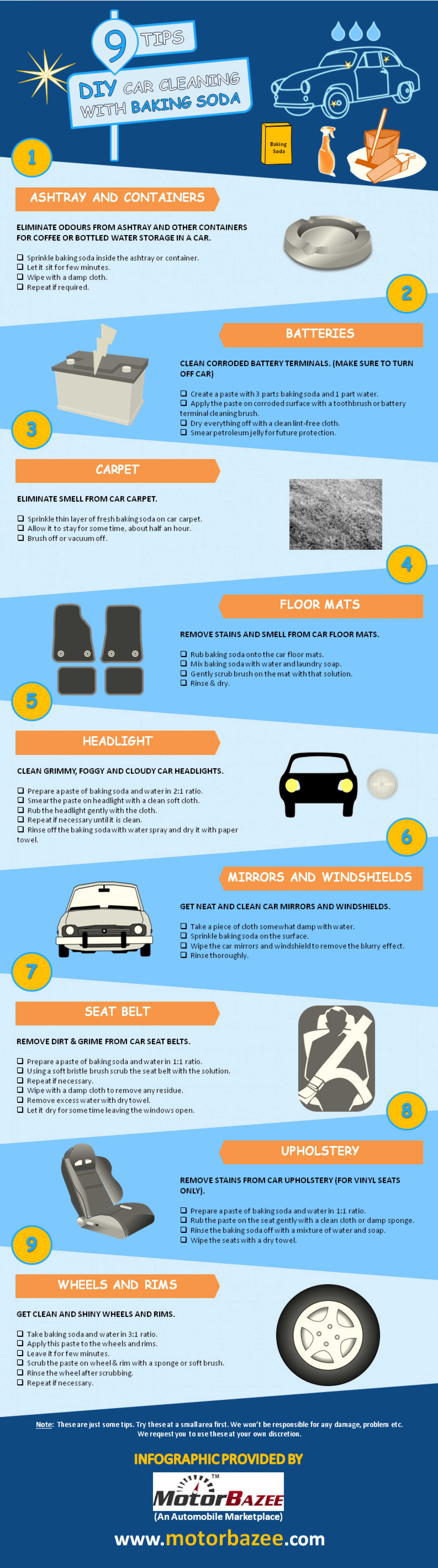 baking soda for car cleaning tips infographic motorbazee