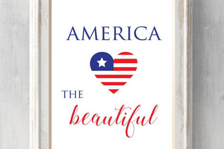 America the Beautiful Heart Print. Custom Colors and Text. Patriotic. 4th of July. Memorial Day. All Prints BUY 2 GET 1 FREE! Infographic