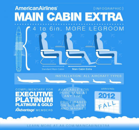 American Airlines New Main Cabin Extra Seats Visual Ly