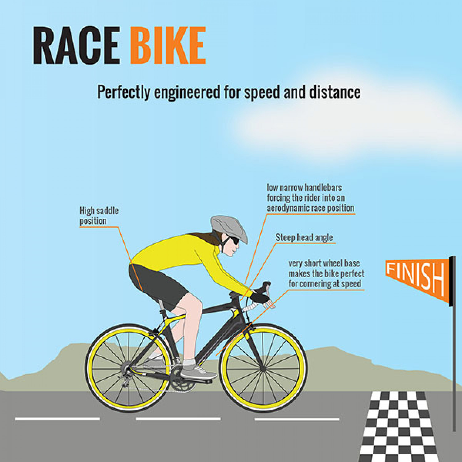 Anatomy of a Bicycle (Part IX) - The Road Race Bike Infographic
