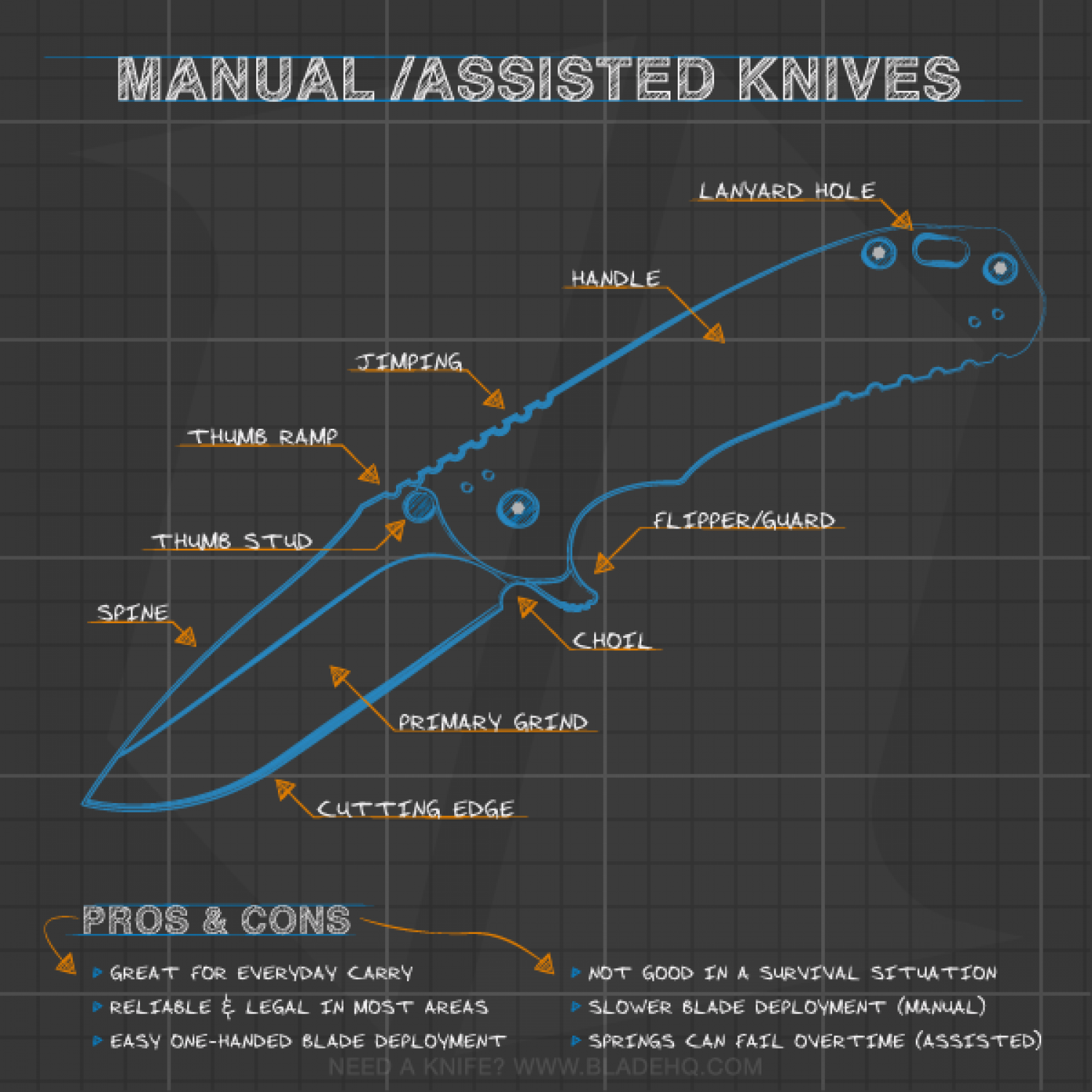 Anatomy of a Manual / Spring Assisted Folding Knife Infographic