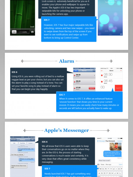 Apple's iOS 6 vs. iOS 7 – Give a Quick Glimpse on its Exclusive Features Infographic