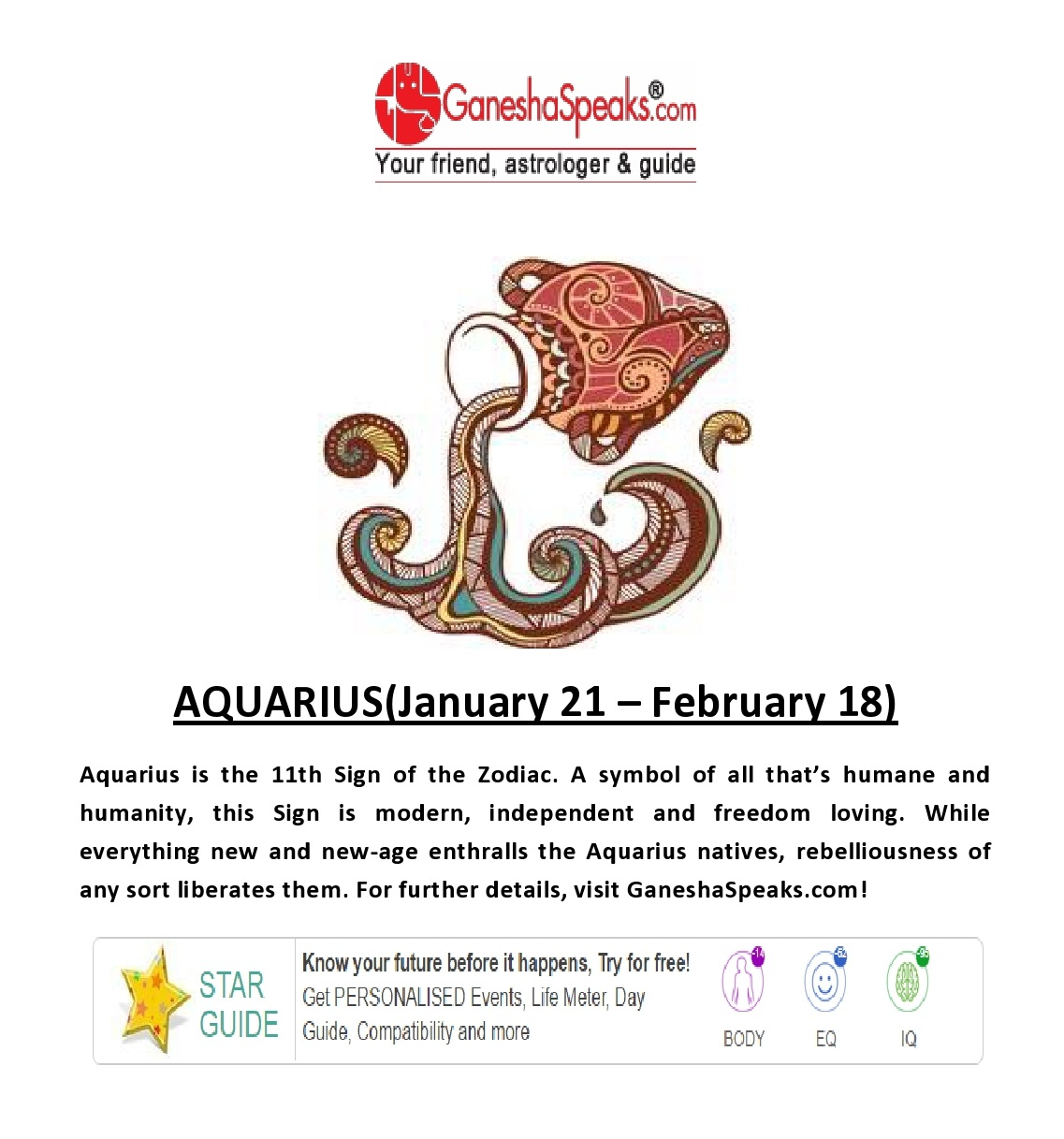 Aquarius- Get Aquarius horoscope online at Ganeshaspeaks com