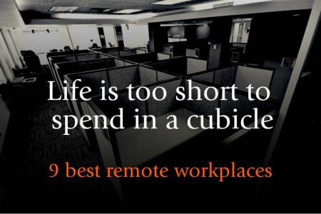 Are you tired working in your cubicle? Check out the 9 best #remote #workplaces Infographic