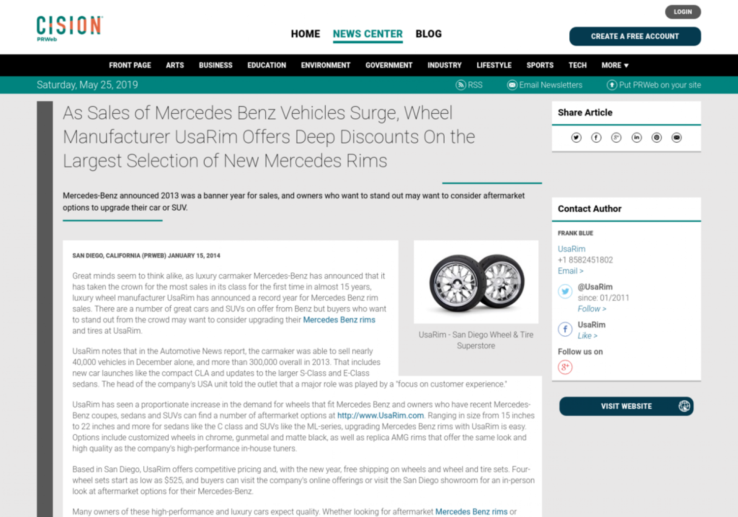 As Sales of Mercedes Benz Vehicles Surge, Wheel Manufacturer UsaRim Offers Deep Discounts On the Largest Selection of New Mercedes Rims Infographic