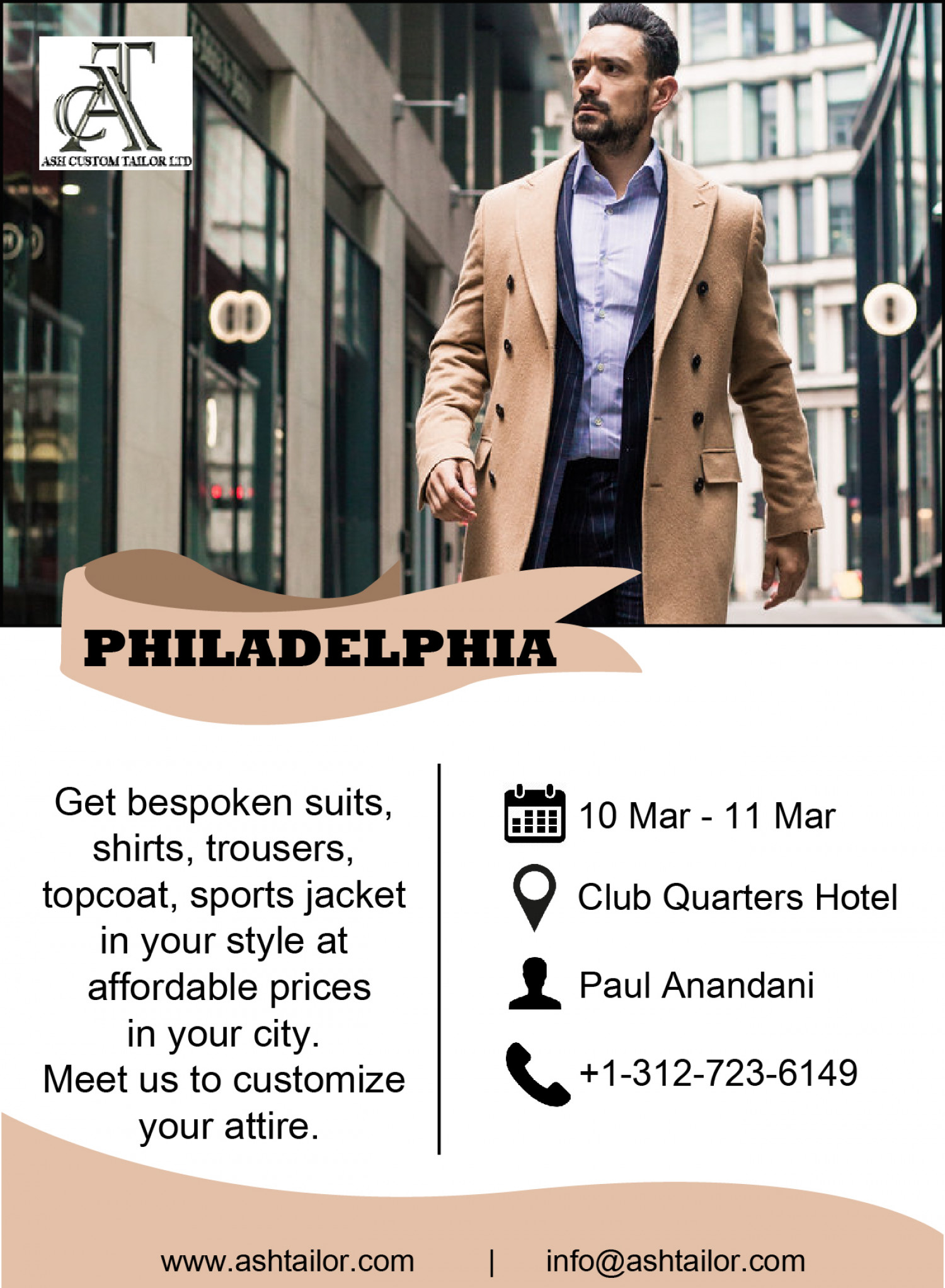 Ash Custom Tailor Philadelphia Tour 2019 Infographic