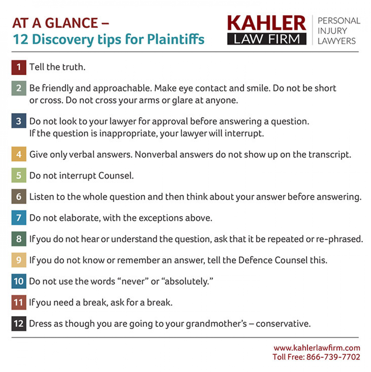 At A Glance – Personal Injury Discovery tips for Plaintiffs Infographic