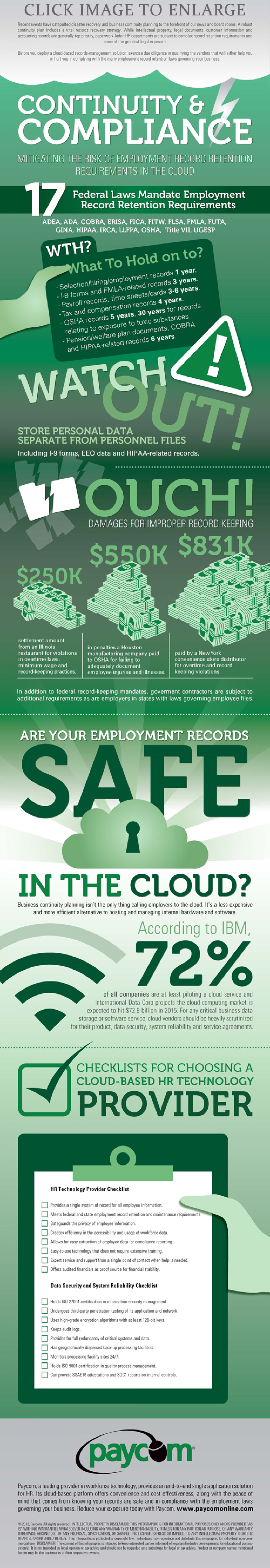 Avoid a Cloudtastrophy: 2  HR checklists for Choosing a Cloud-Based Technology Provider Infographic