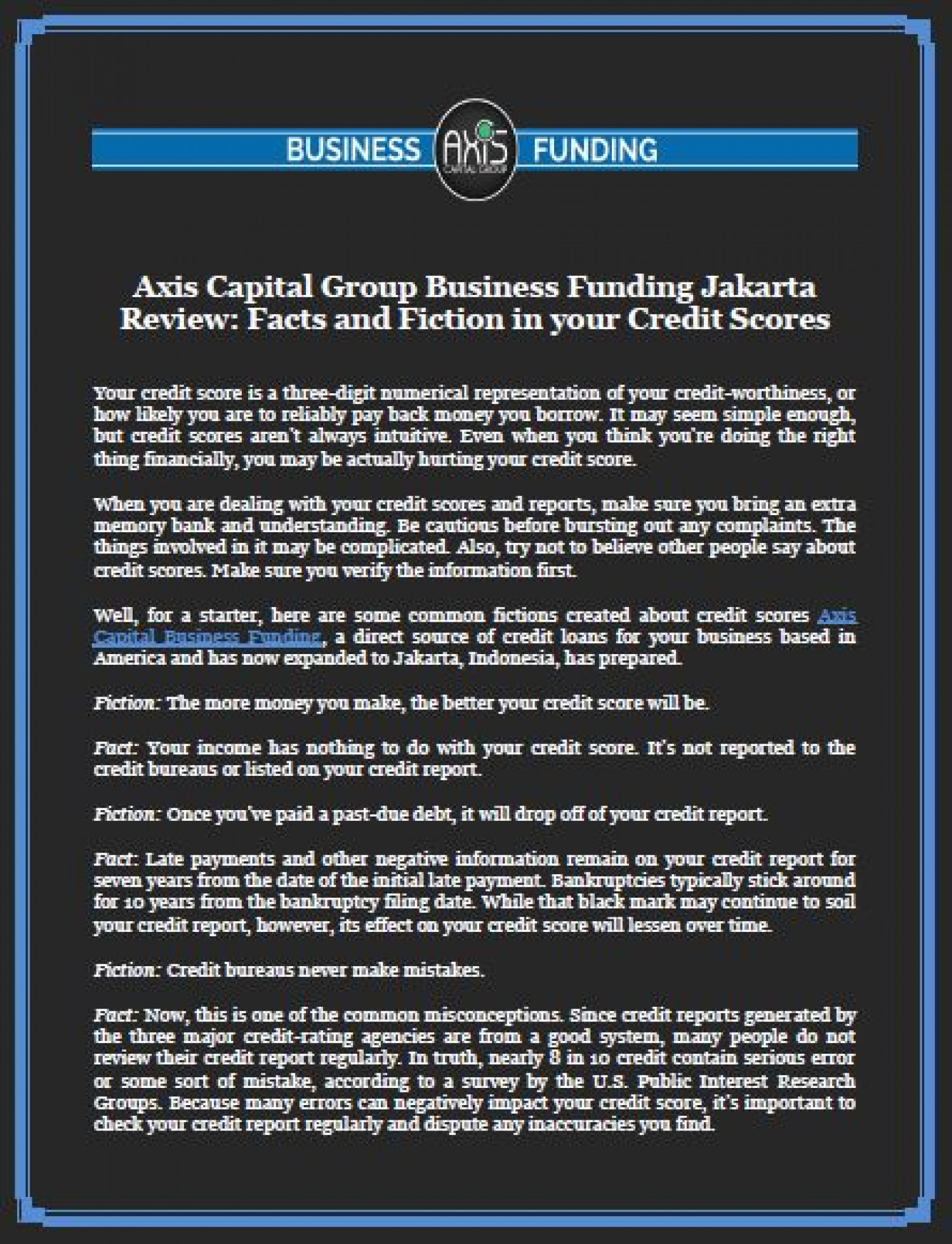 Axis Capital Group Business Funding Jakarta Review: Facts and Fiction in your Credit Scores Infographic