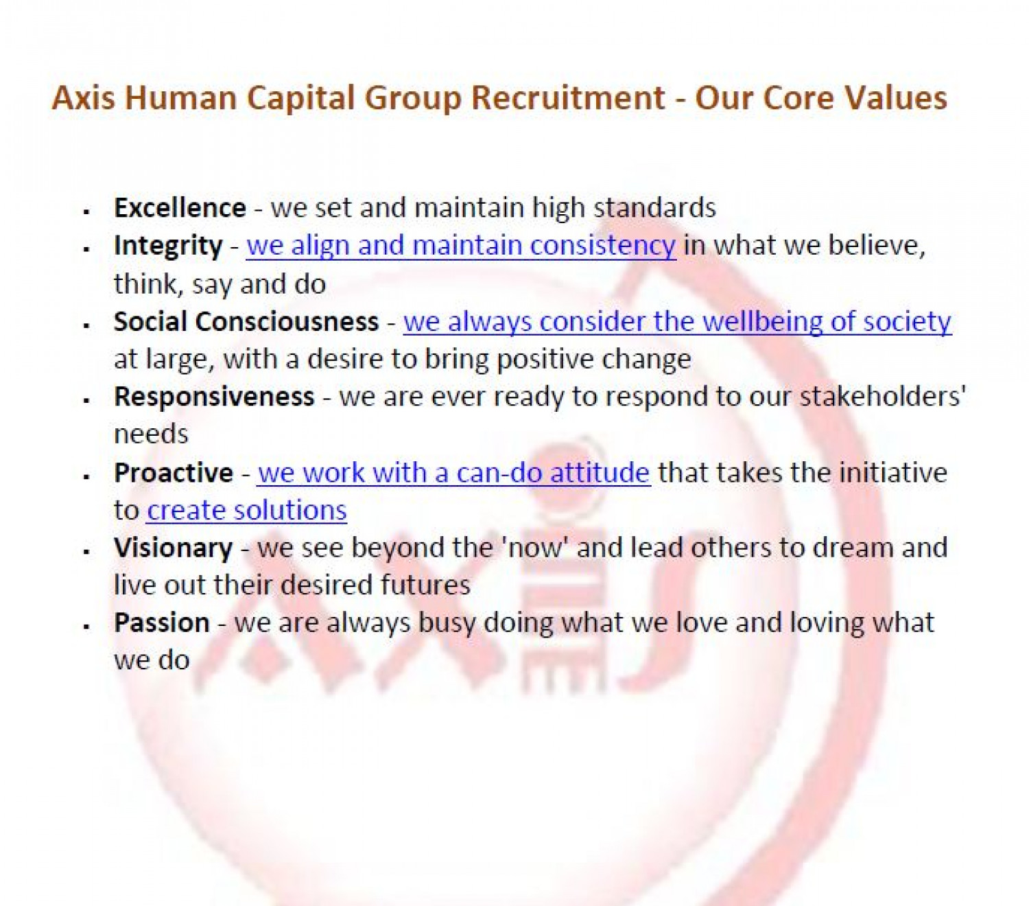 Axis Human Capital Group Recruitment - Our Core Values Infographic
