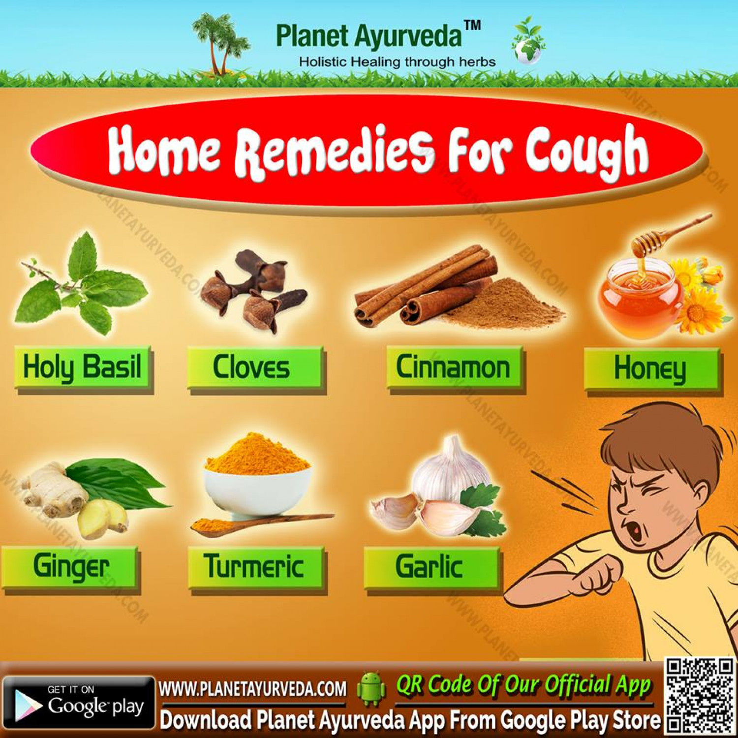 Ayurvedic Treatment and Home Remedies for Cough Infographic