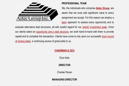 Aztec Group Inc Florida Singapore Tokyo Japan Investments Professional Team Infographic