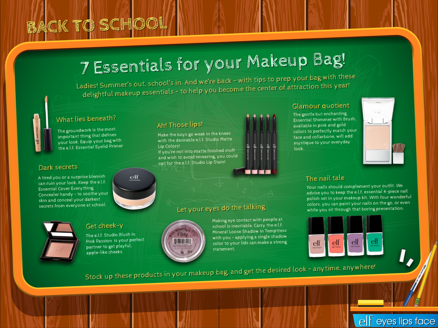 Back to school 7 essentials for your makeup bag Infographic
