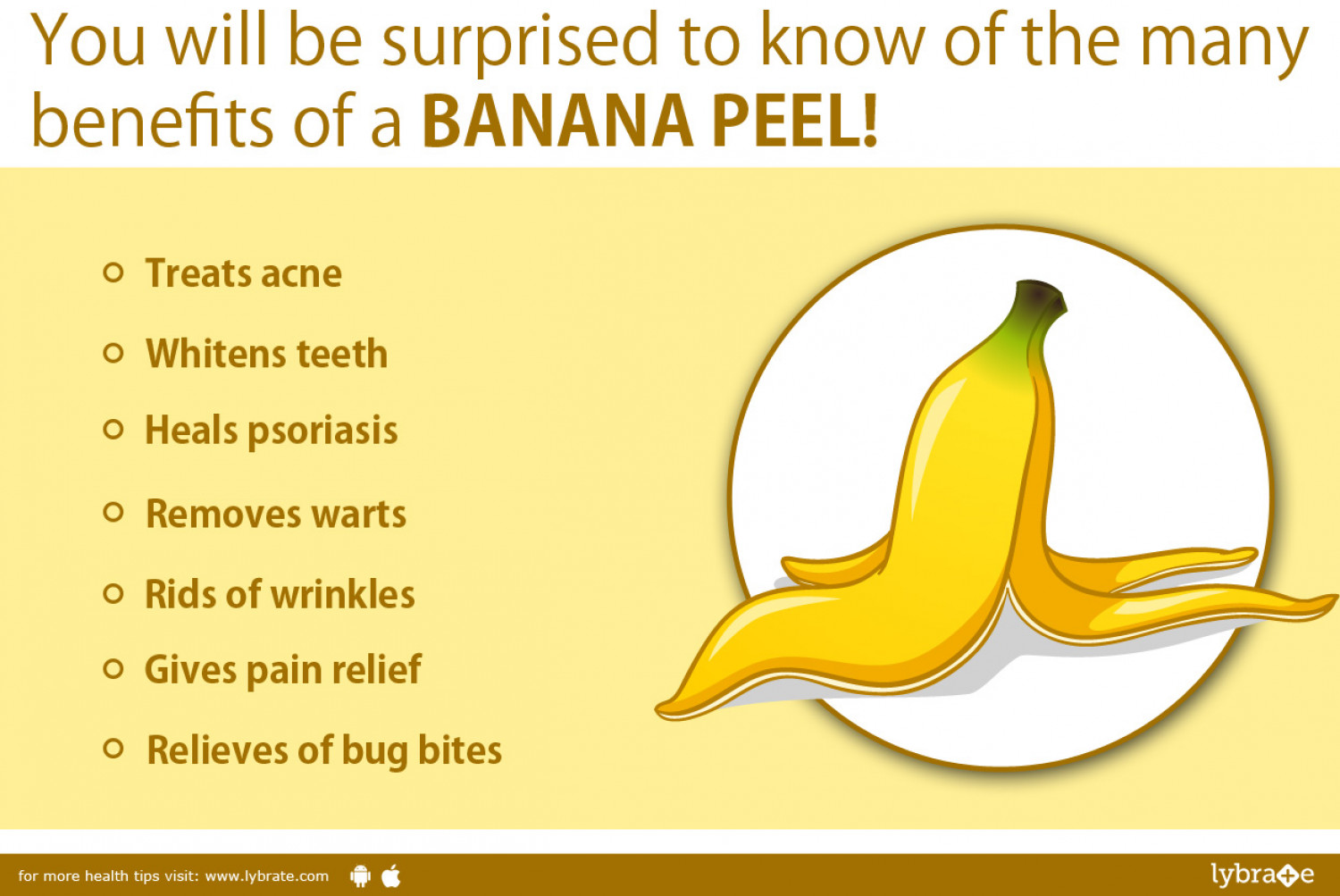 Banana Peel : Benefits!  Infographic