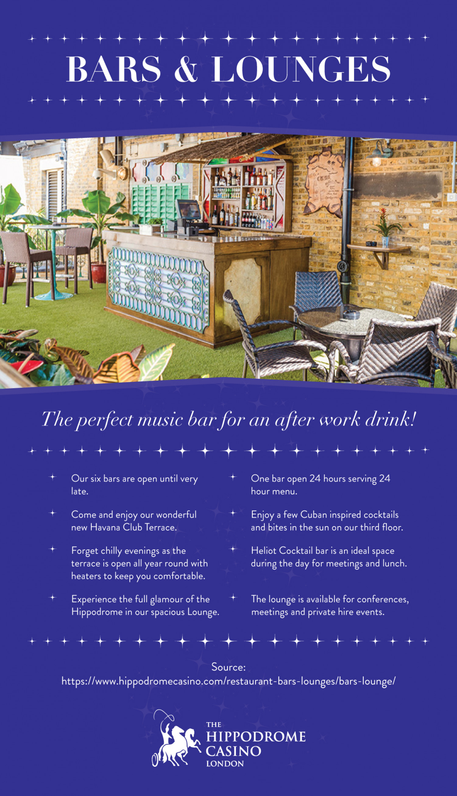 Bars & Lounges - The perfect Music Bar for an after work drink! Infographic