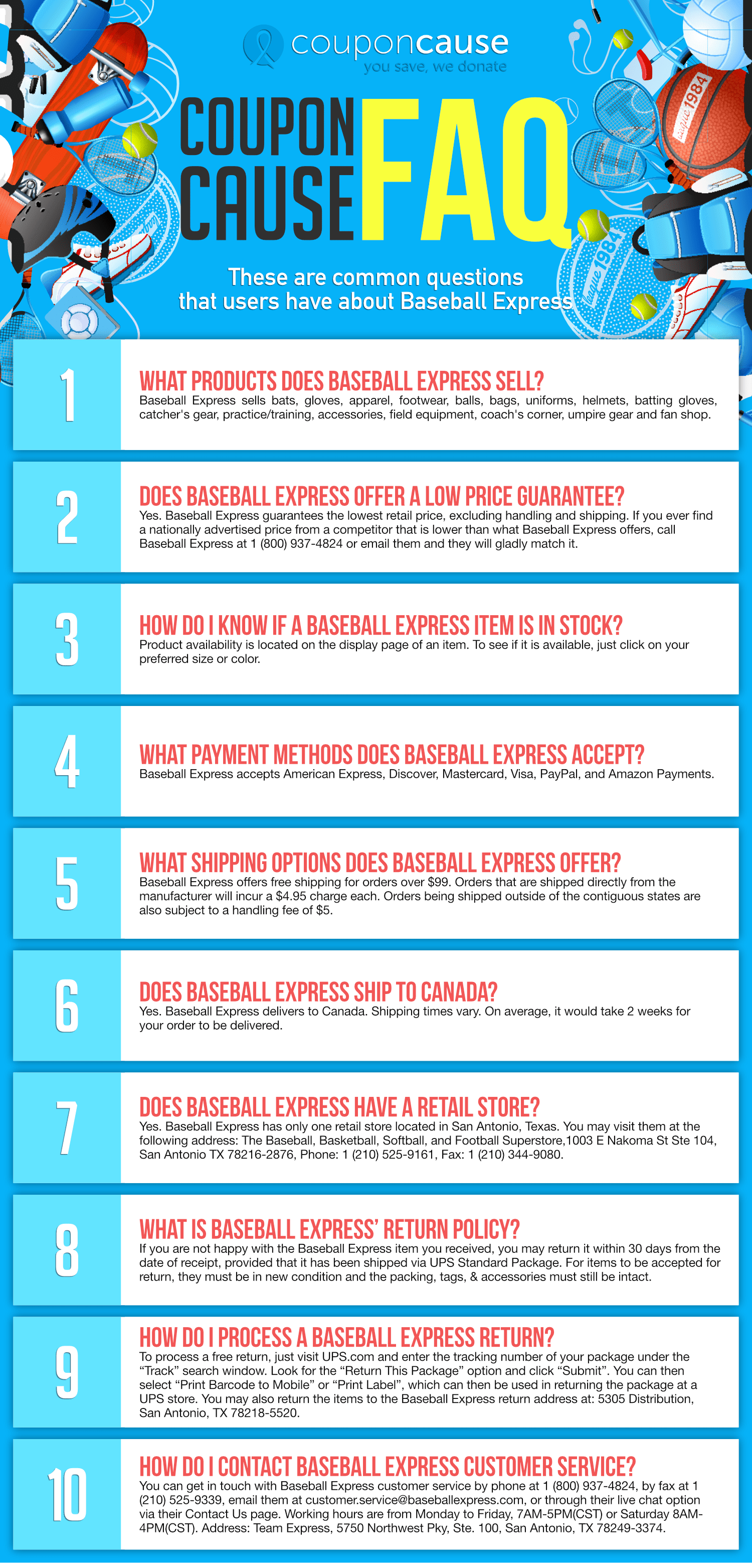 Baseball Express Coupon Cause FAQ (C.C. FAQ) Infographic
