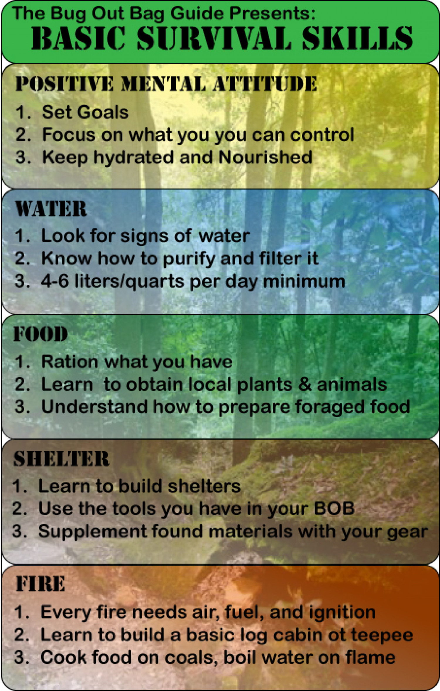 Basic Survival Skills YOU Need When Bugging Out Infographic