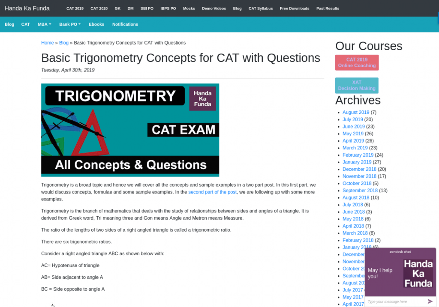 Basic Trigonometry Concepts for CAT with Questions Infographic