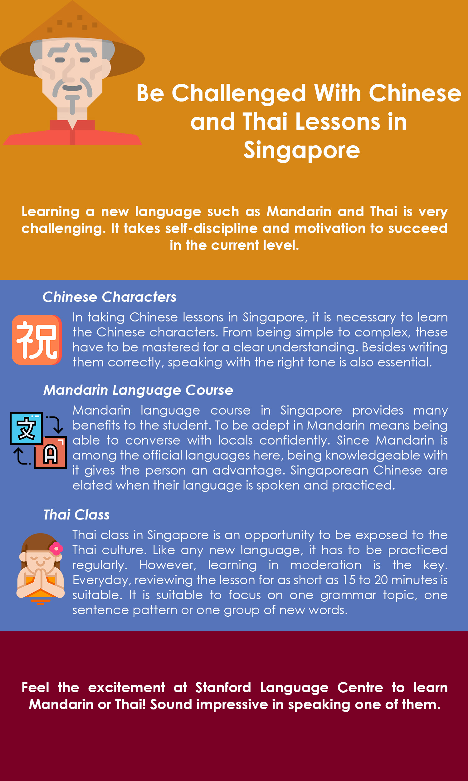 Be Challenged With Chinese and Thai Lessons in Singapore Infographic