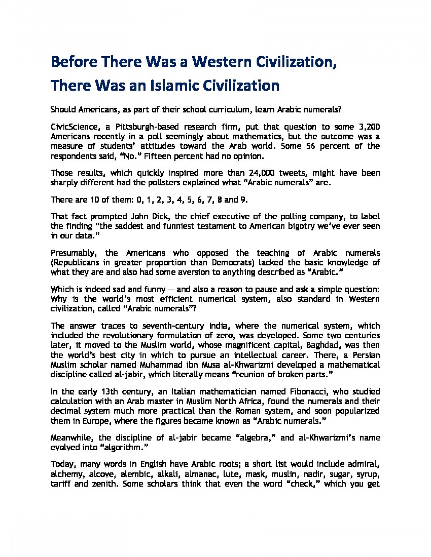 Before There Was a Western Civilization, There Was an Islamic Civilization Infographic
