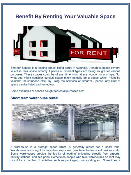 Benefit by Renting Your Valuable Space  Infographic
