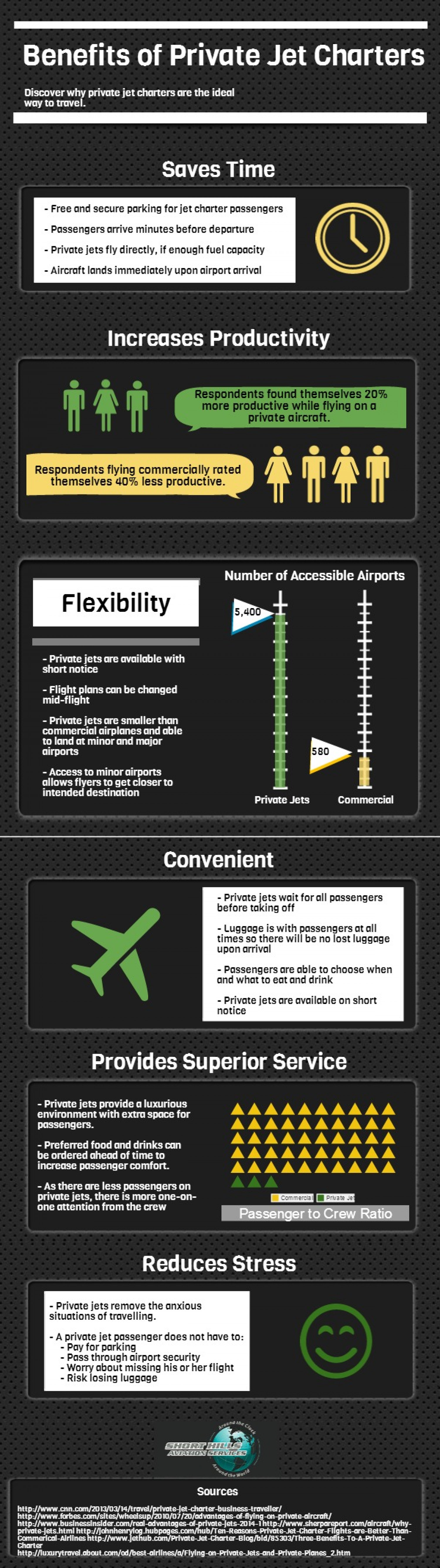 Benefits of Private Jet Charters Infographic