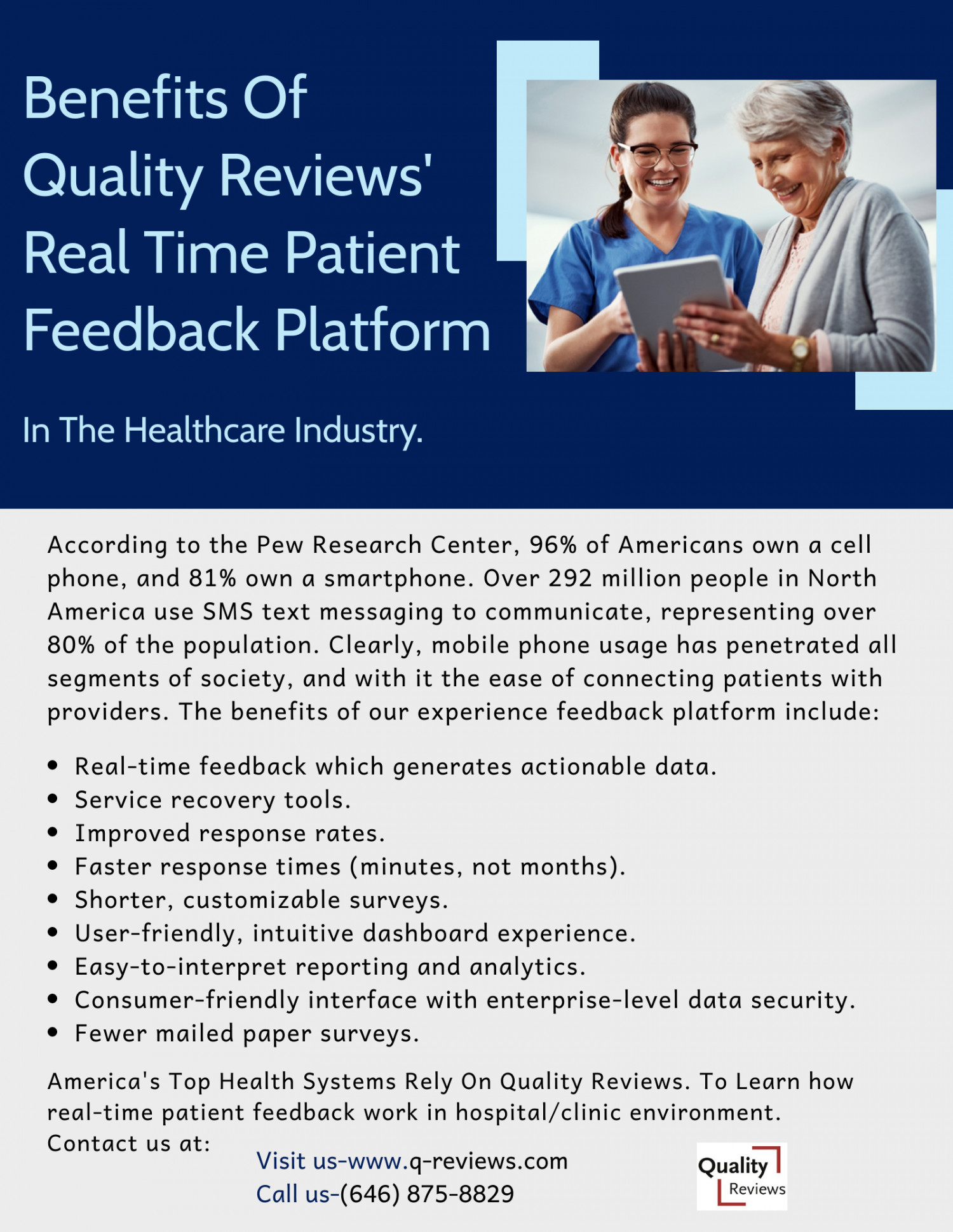 Benefits Of Quality Reviews' Real Time Patient Feedback Platform Infographic