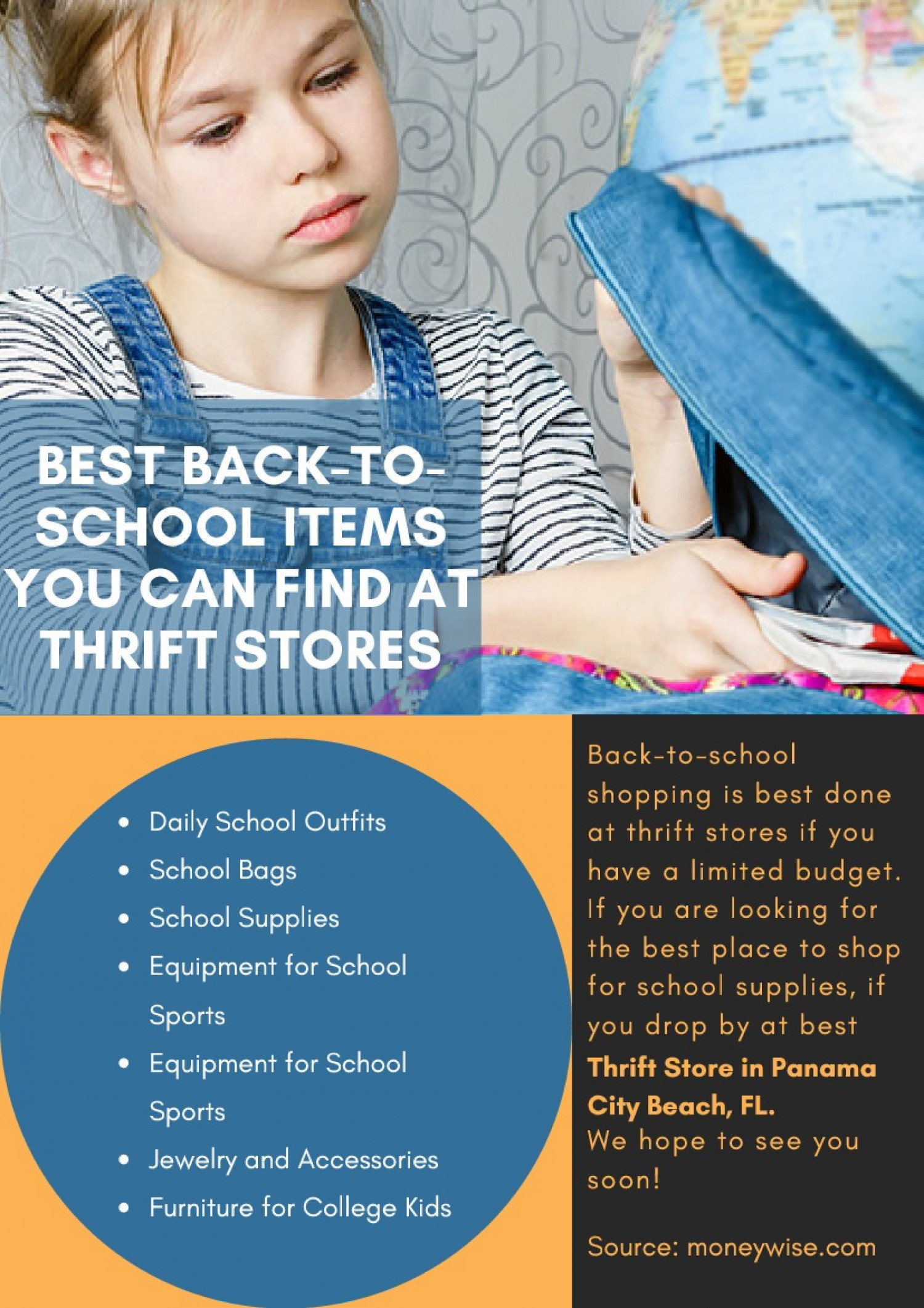 Best Back-To-School Items You Can Find at Thrift Stores Infographic
