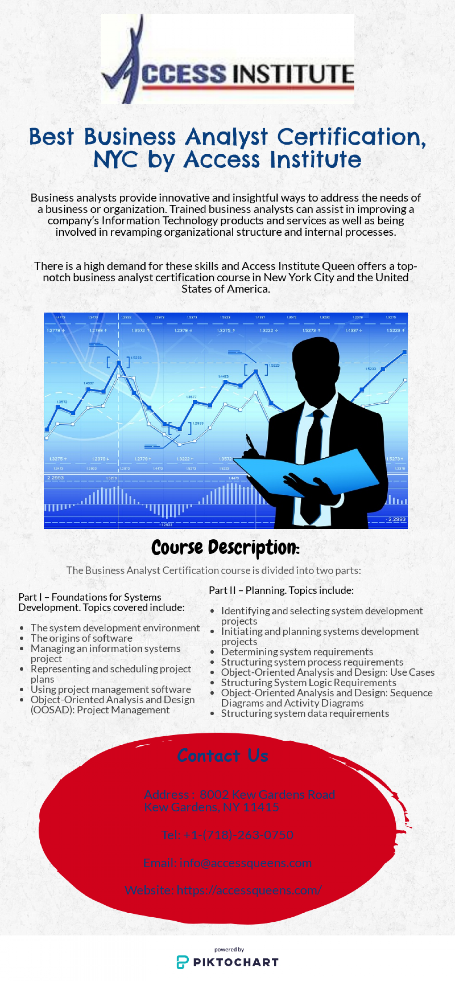 Best Business Analyst Certification, NYC by Access Institute Infographic