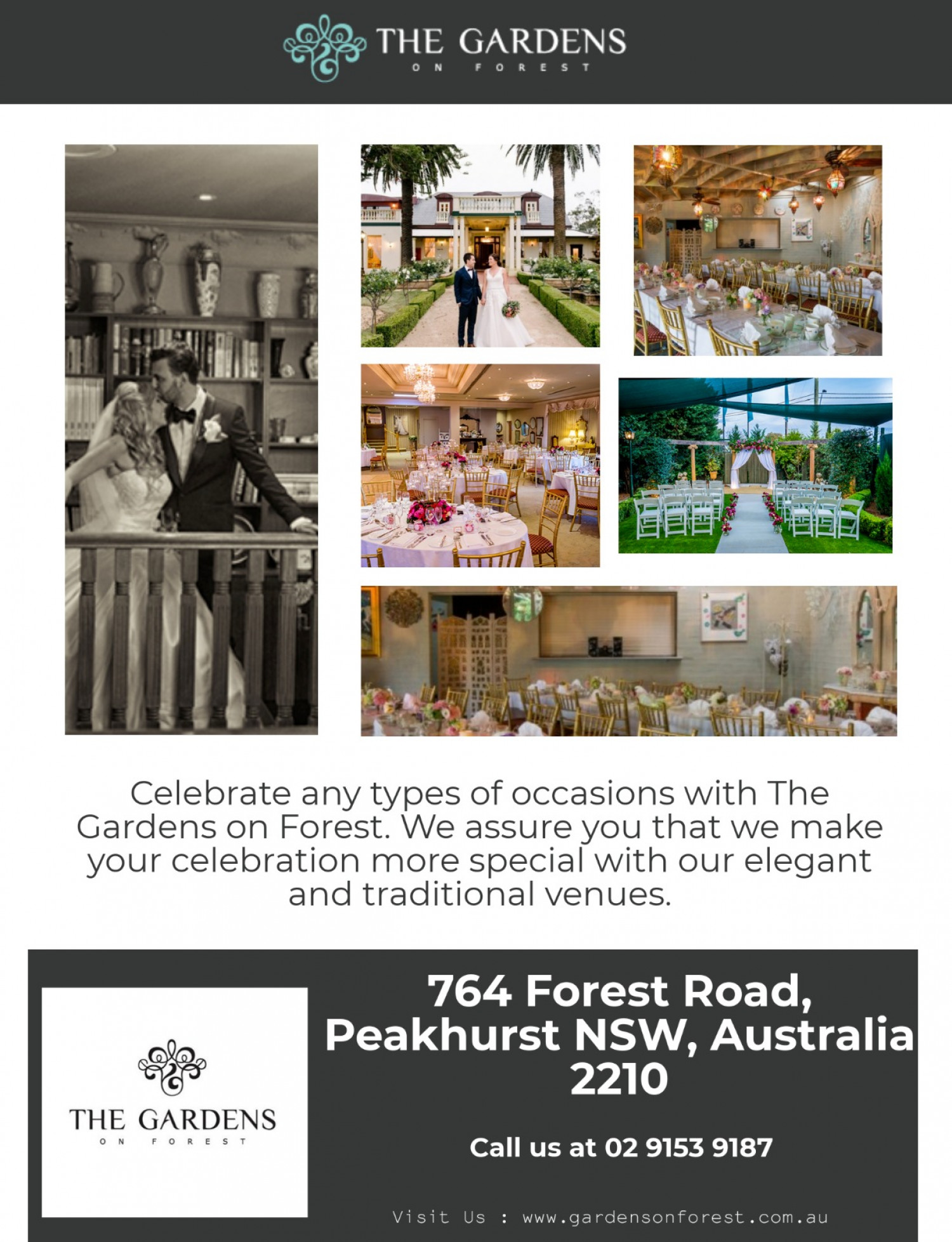 Best Celebration Venues in Sydney - The Gardens on Forest Infographic