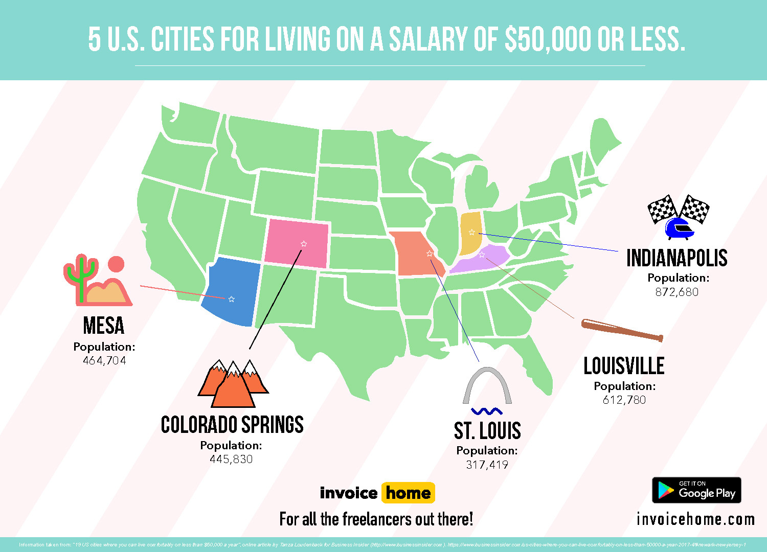 Best Cities to Live in With a Salary of $50,000 or Less - Become a Freelancer easily with Invoice Home! Infographic