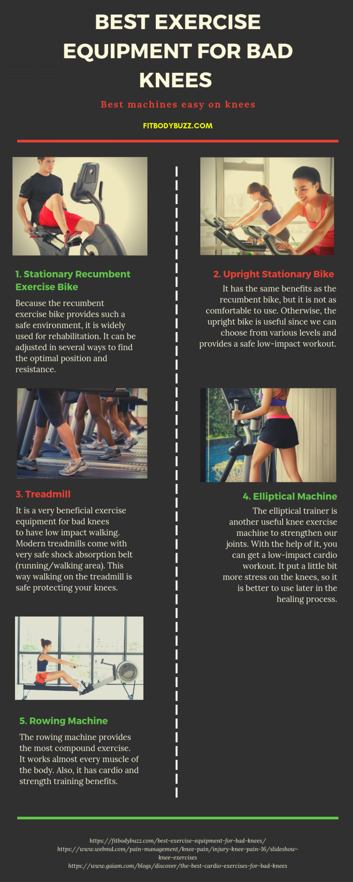 Best Gym Machines to Use With Bad Knees Infographic