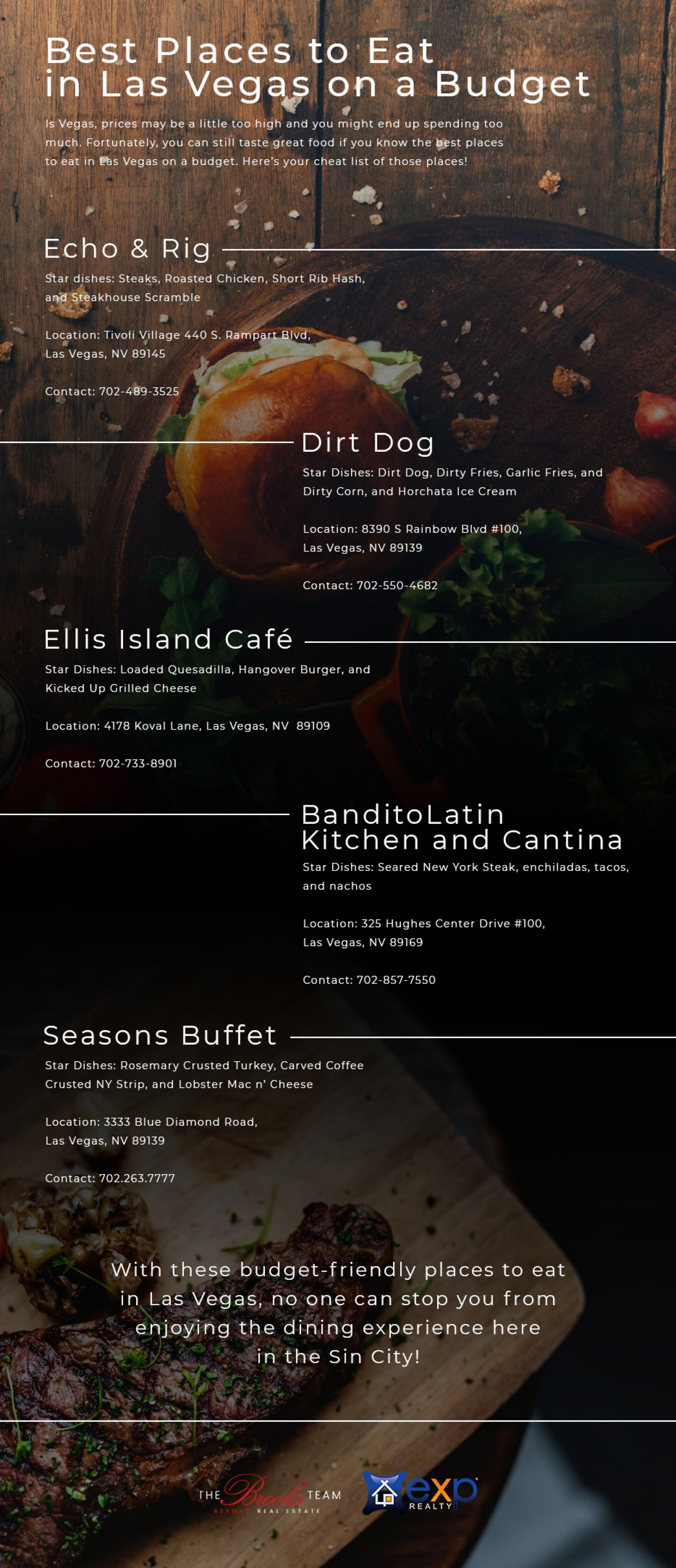 Best Places to Eat in Las Vegas on a Budget Infographic