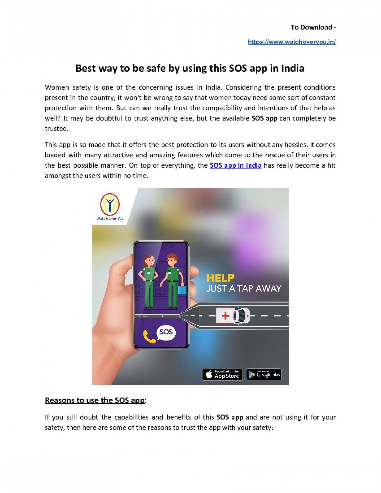 Best way to be safe by using this SOS app in India Infographic